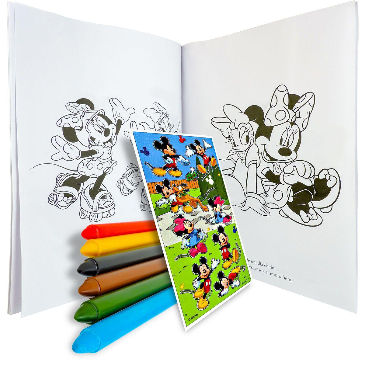 Livro Para Colorir Turma Da Minnie Com Giz De Cera Mais Adesivo