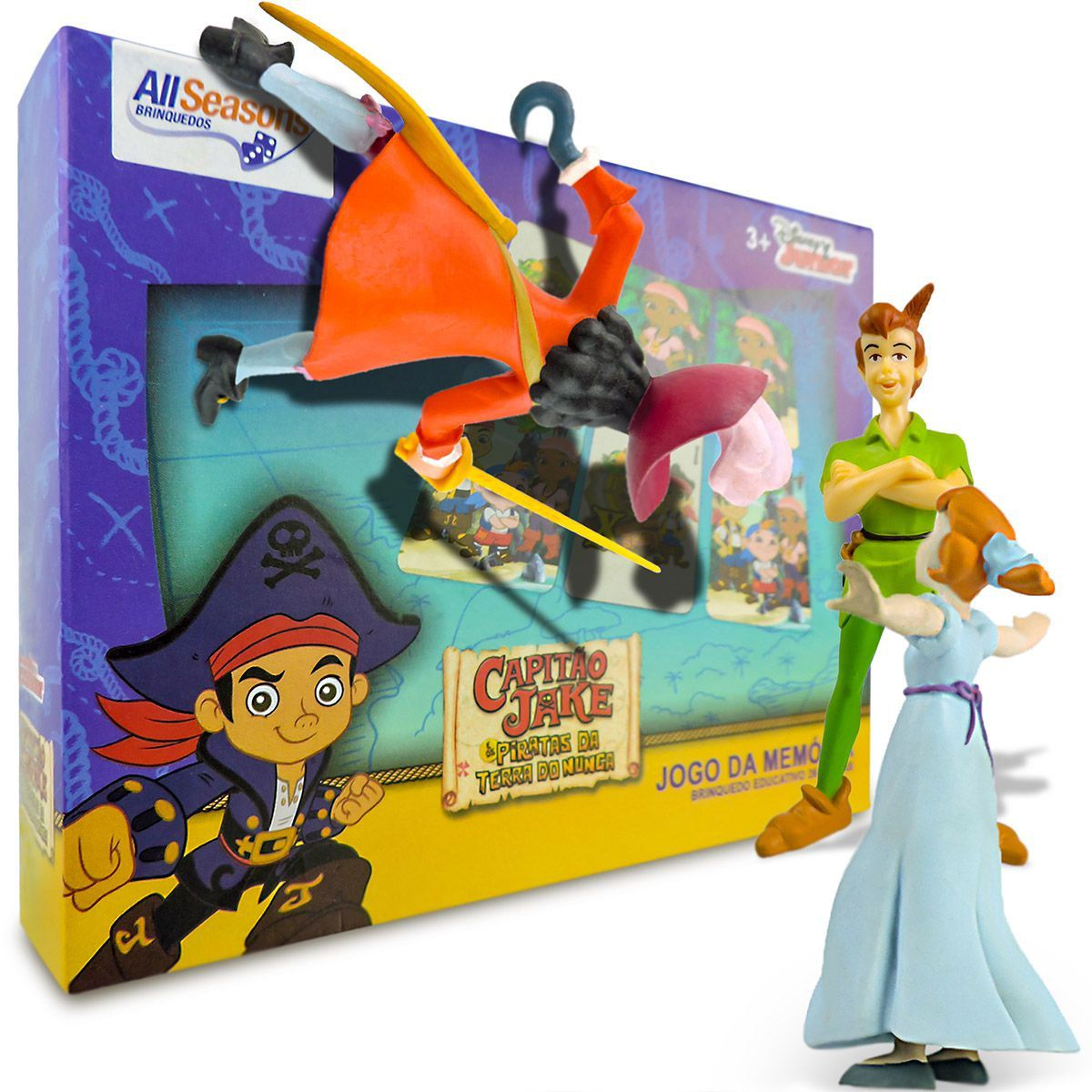 Peter Pan Capitão Gancho e Wendy em Miniatura mais Jogo Memória