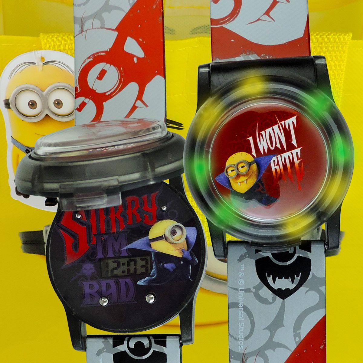 Relógio Digital De Pulso Minions Com Luz + Chaveiro + Sacola