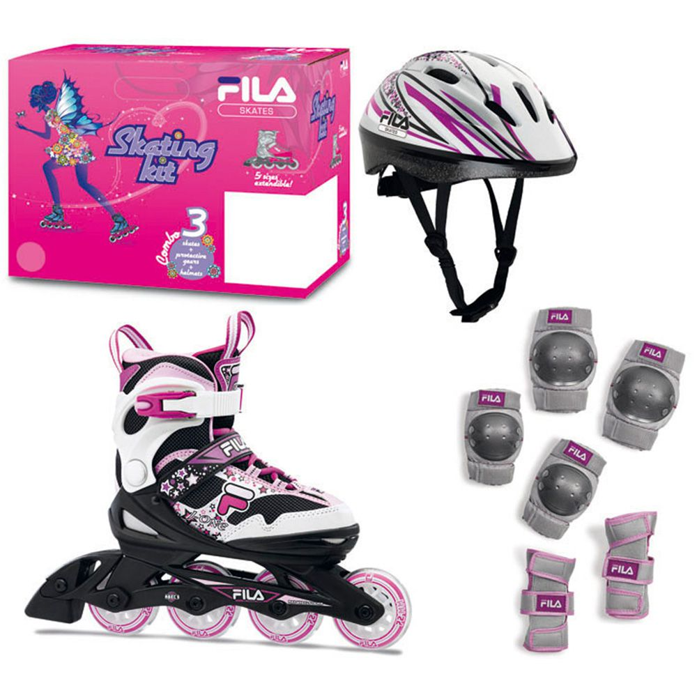 Combo Patins Ajustável, Capacete e Kit de Proteção J-One Girl Fila Skates