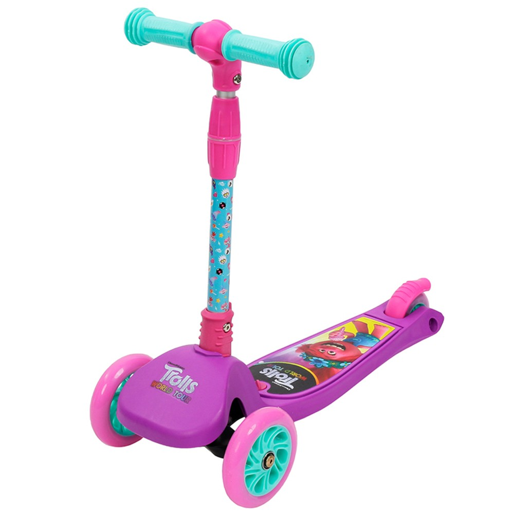 Patinete Trolls  Poppy Purple World Tour - Dobrável com LED