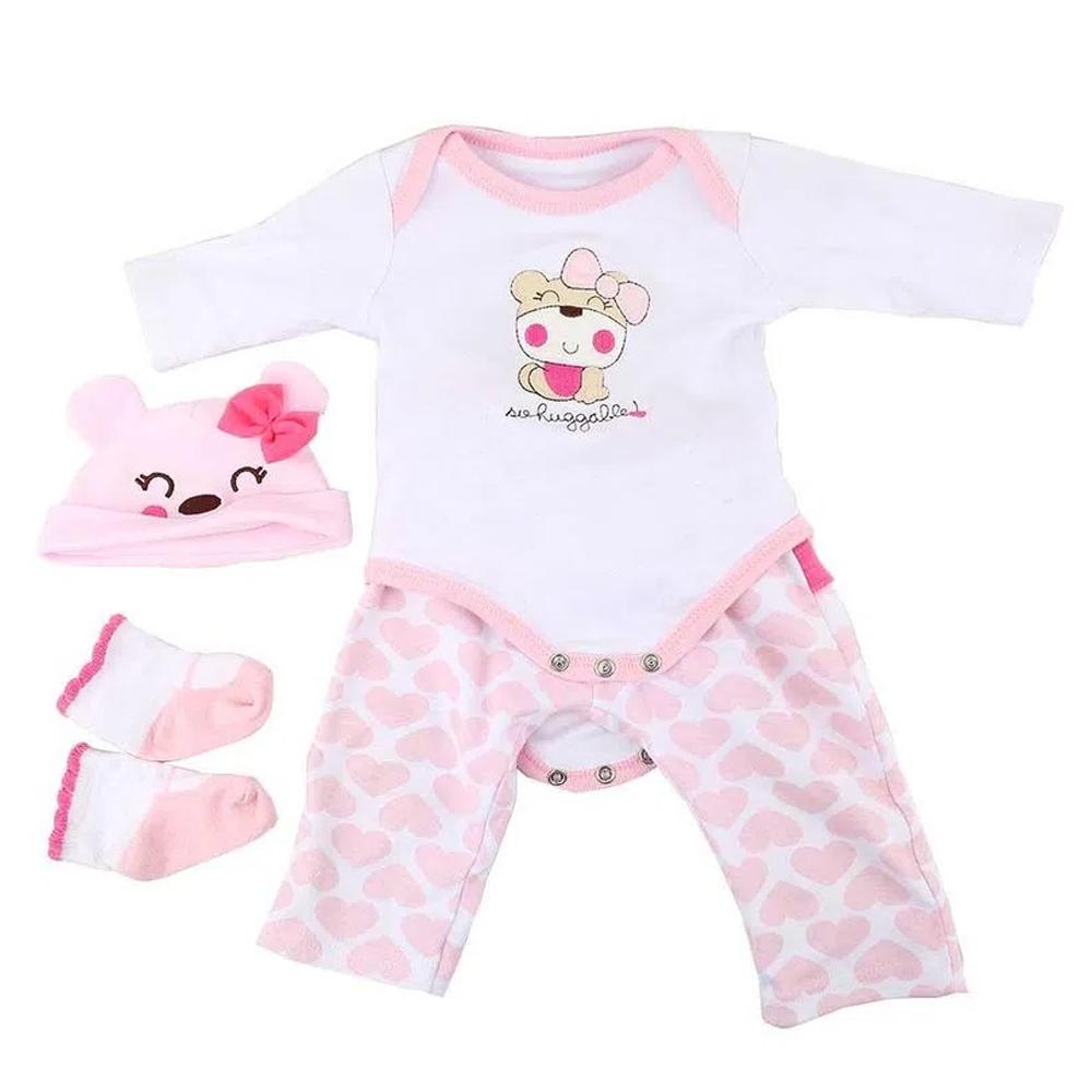 Roupa Para Boneca Bebê Reborn Com Touca Urso Rosa