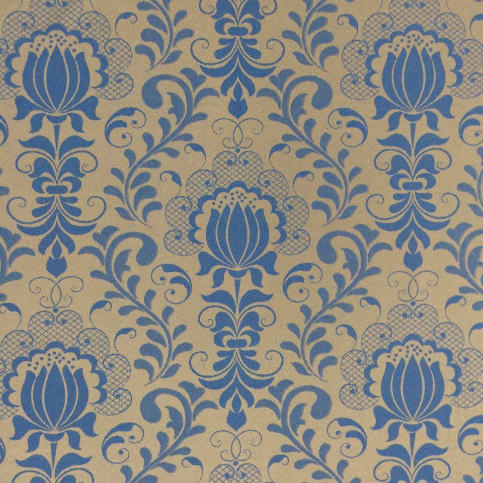 Tecido jacquard floral azul com dourado de largura for Ecksofa 2 80 m