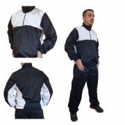Agasalho Esportivo: Calça e Blusa Cor Preto c/detalhes em Branco