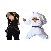 Combo Karate Kid: Kimono Miyagi Do PA Lonita  + Kimono Cobra Kai Adulto/Infantil + Faixa Branca