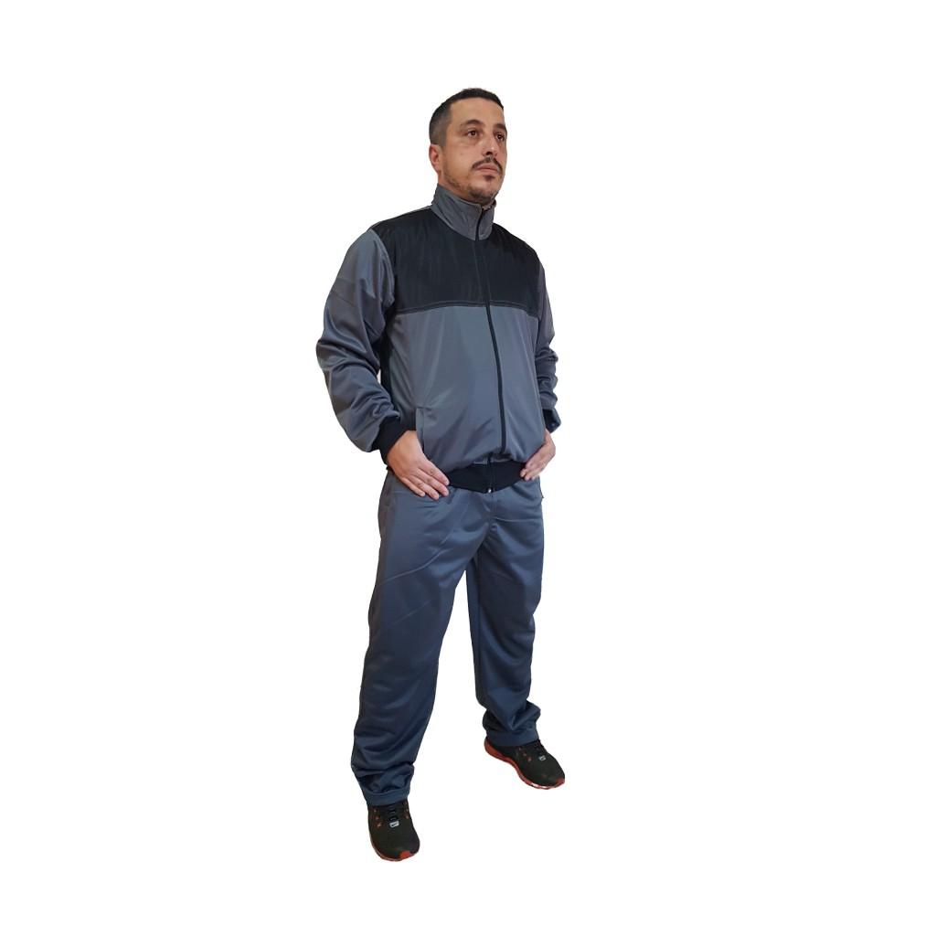 Agasalho Esportivo: Calça e Blusa Cor Cinza c/detalhes em preto