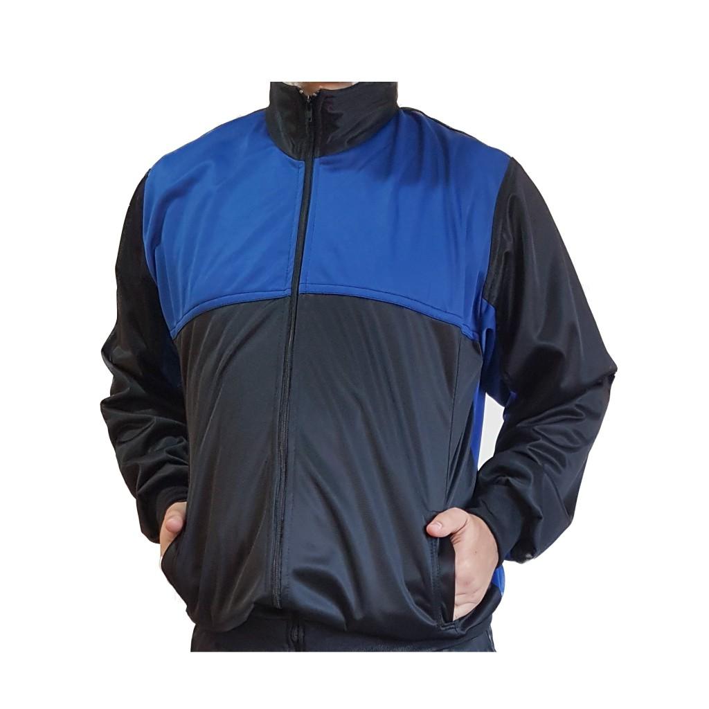 Agasalho Esportivo: Calça e Blusa Cor Preto c/detalhes Azul