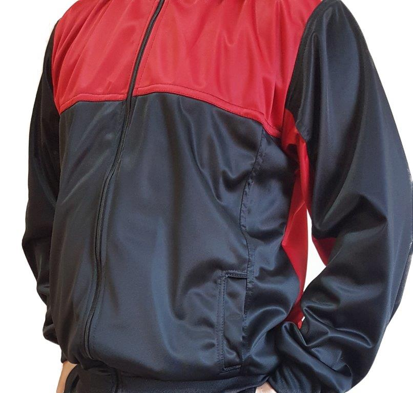 Agasalho Esportivo: Calça e Blusa Cor Preto c/detalhes em Vermelho