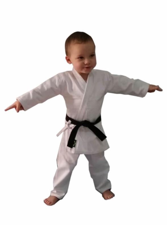 Kimono Bebe de 7 a 14 meses Karate/Judo/Jiu Jitsu/Aikido/Hapkido/Krav Maga C/faixa branca ou preta