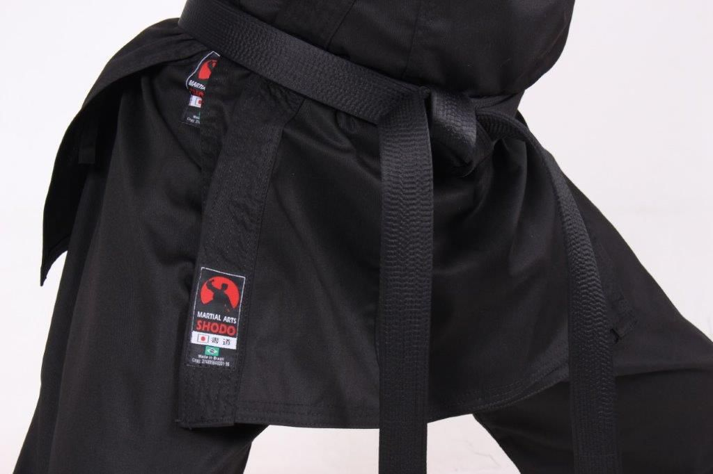 Kimono Hapkido/Krav maga/Karate Infantil PA (Policotton)  Preto + faixa branca iniciante Martial Arts Shodo