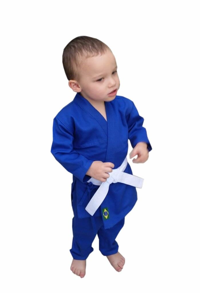 Kimono Judo Infantil Azul Reforçado + faixa branca iniciante