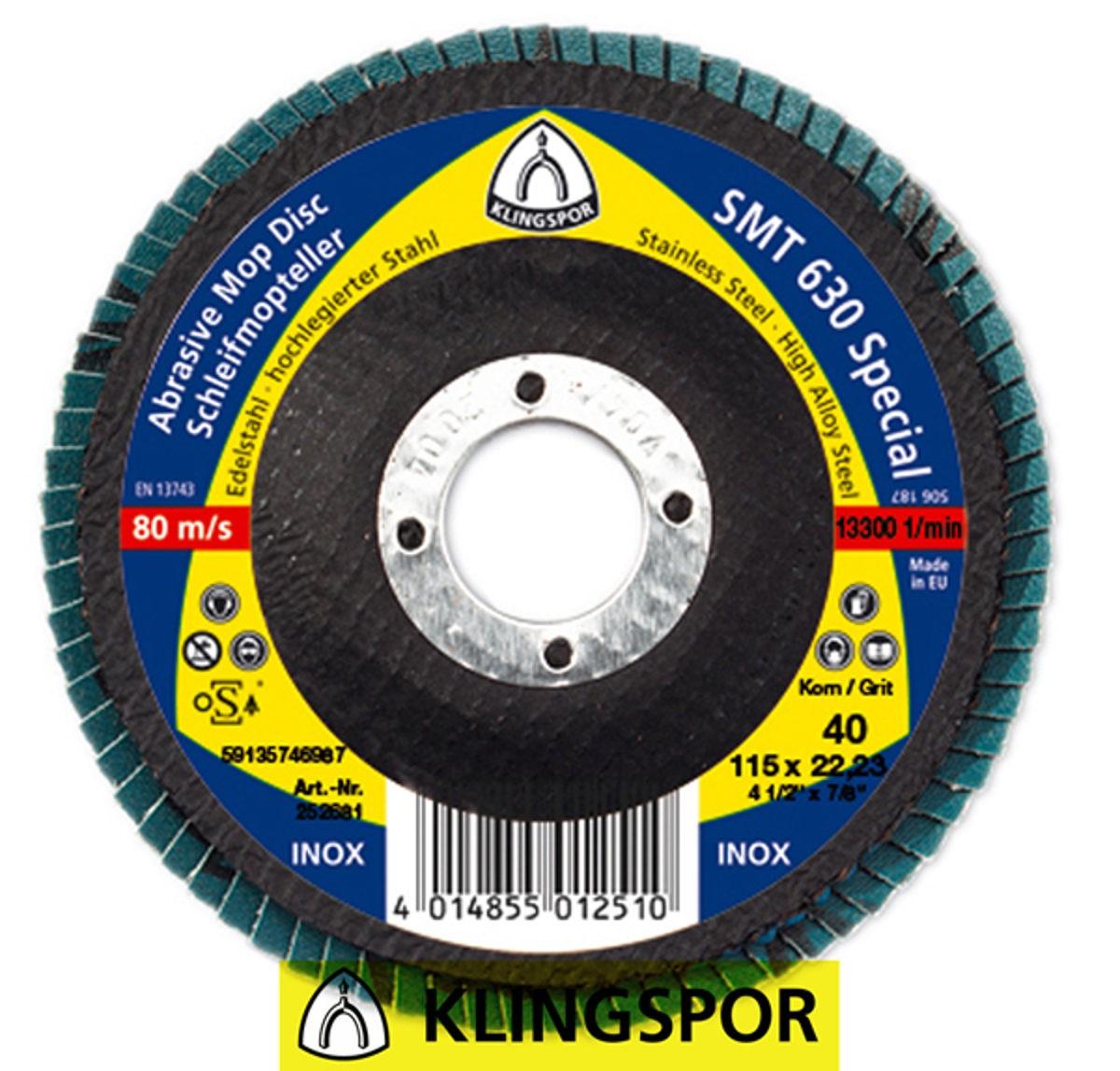 DISCO FLAP 180X22.23 G.40 SMT630 SPECIAL  KLINGSPOR SMT630