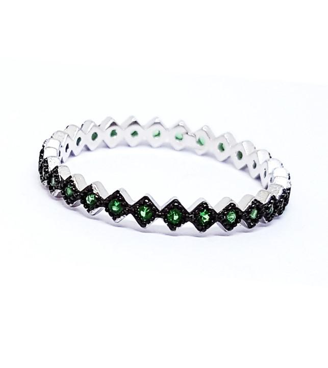 Anel de Prata Cravejado com Zircônias Verde