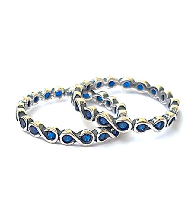 Anel de Prata Infinito - Zircônia Azul - LHA0017