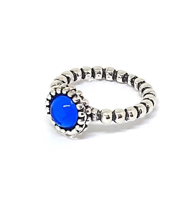 Anel de Prata Pontos - Azul Intenso