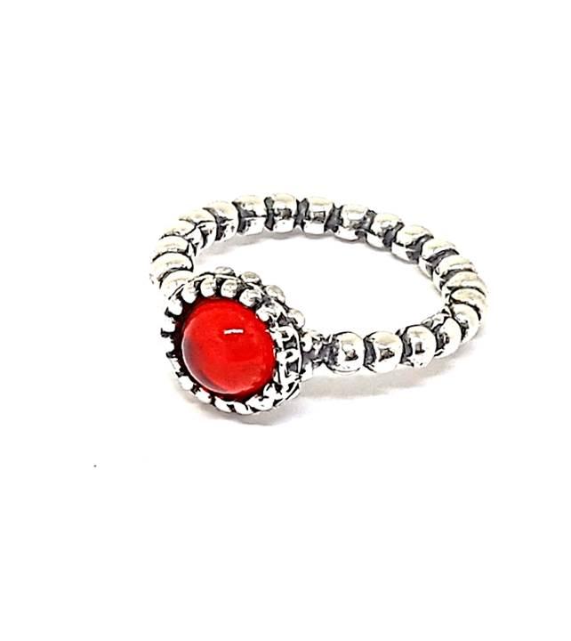 Anel de Prata Pontos - Vermelho