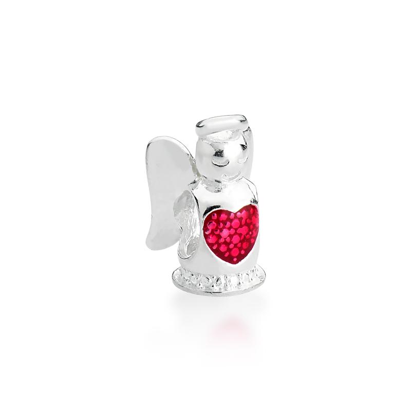 Berloque Anjo Coração Vermelho