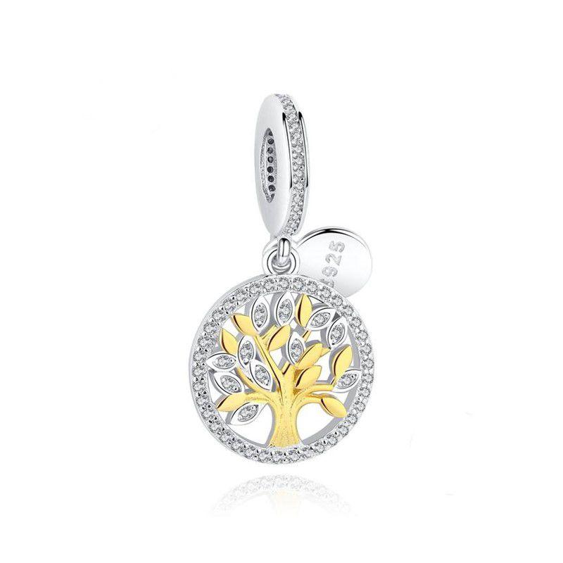 Berloque Árvore da Vida Dourada Zircônias - Prata Italiana