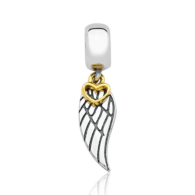 Berloque Asa de Anjo Coração Dourado