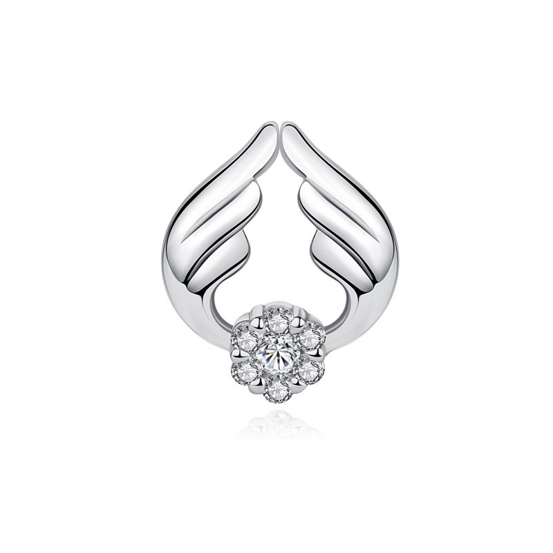 Berloque Asas de Anjo Zircônia Cristal - Prata italiana
