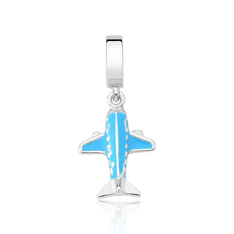 Berloque Avião Esmaltado Azul