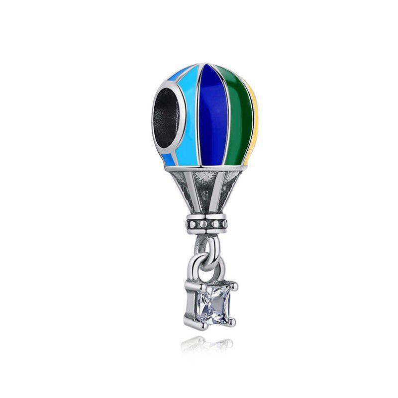 Berloque Balão Colorido Zircônia Cristal - Prata Italiana