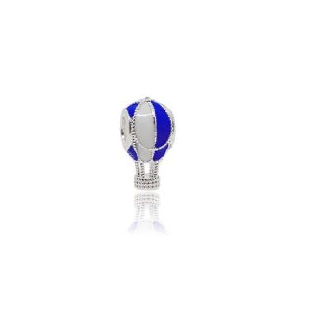 Berloque Balão de Ar Esmaltado Azul e Branco