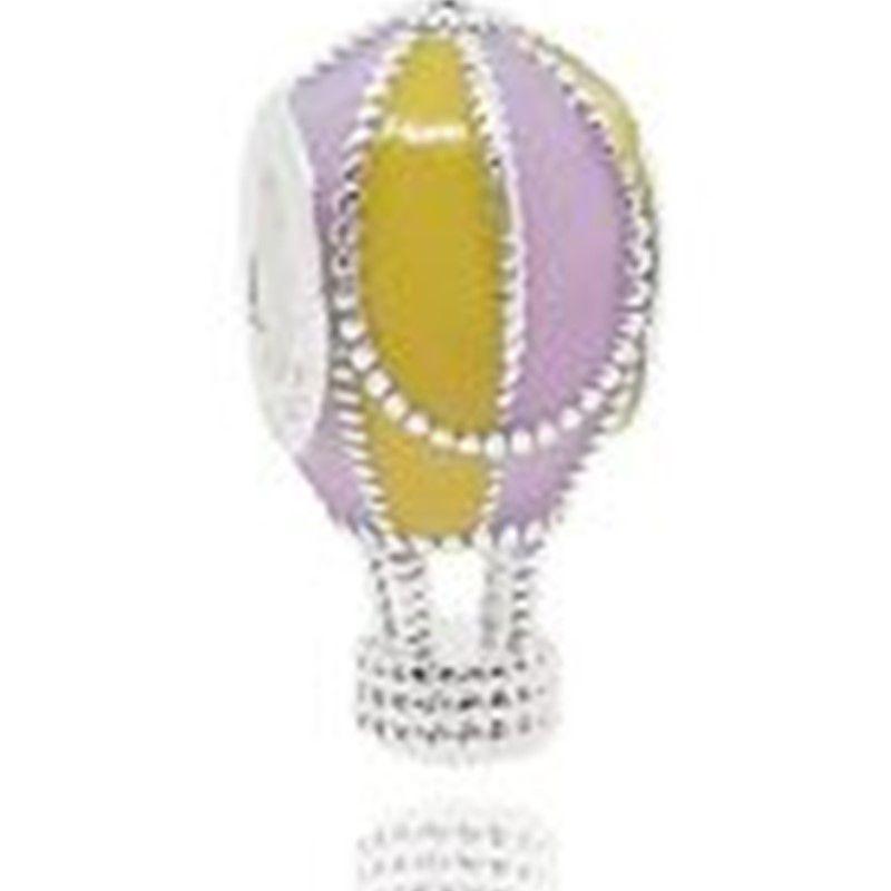 Berloque Balão de Ar Esmaltado Lilás e Amarelo