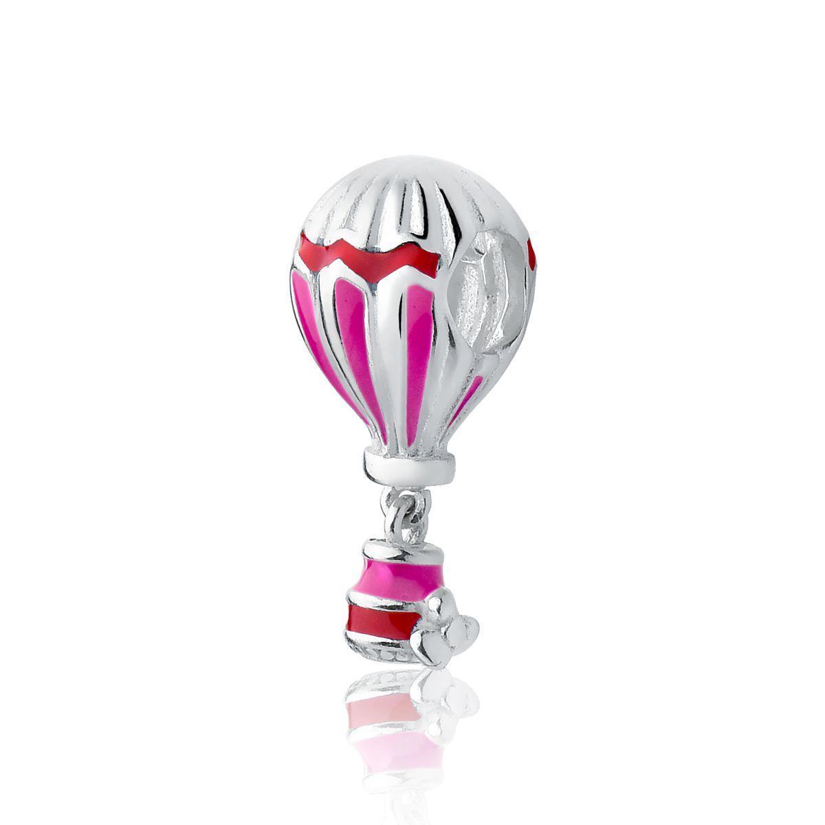 Berloque Balão Esmaltado Vermelho e Rosa