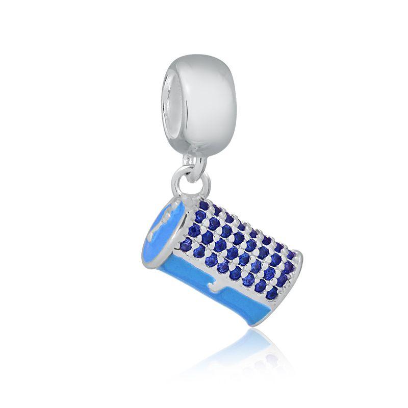 Berloque Bolsa Clutch Azul com Zircônias Azuís