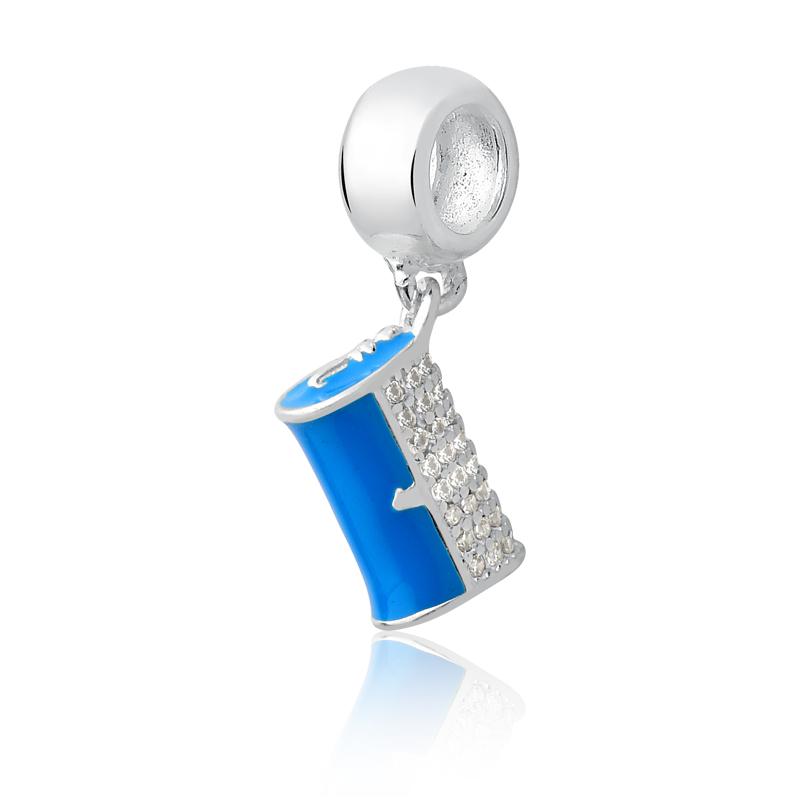 Berloque Bolsa Clutch Azul com Zircônias Brancas