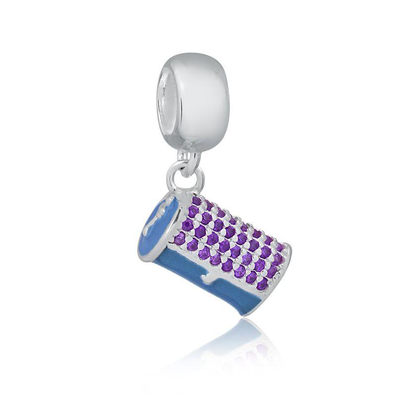 Berloque Bolsa Clutch Azul com Zircônias Lilás