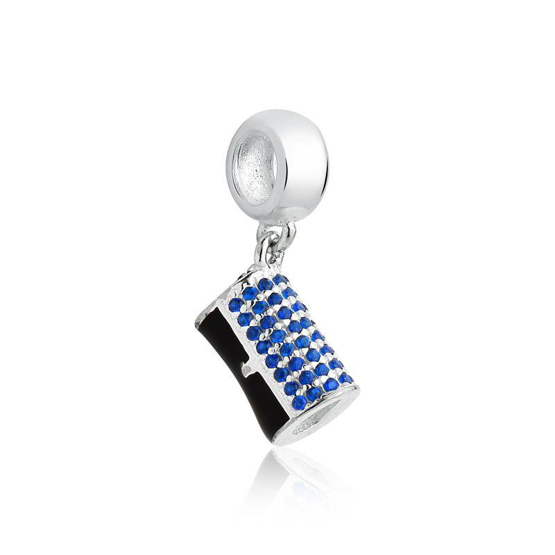 Berloque Bolsa Clutch Preta Zircônia Azul