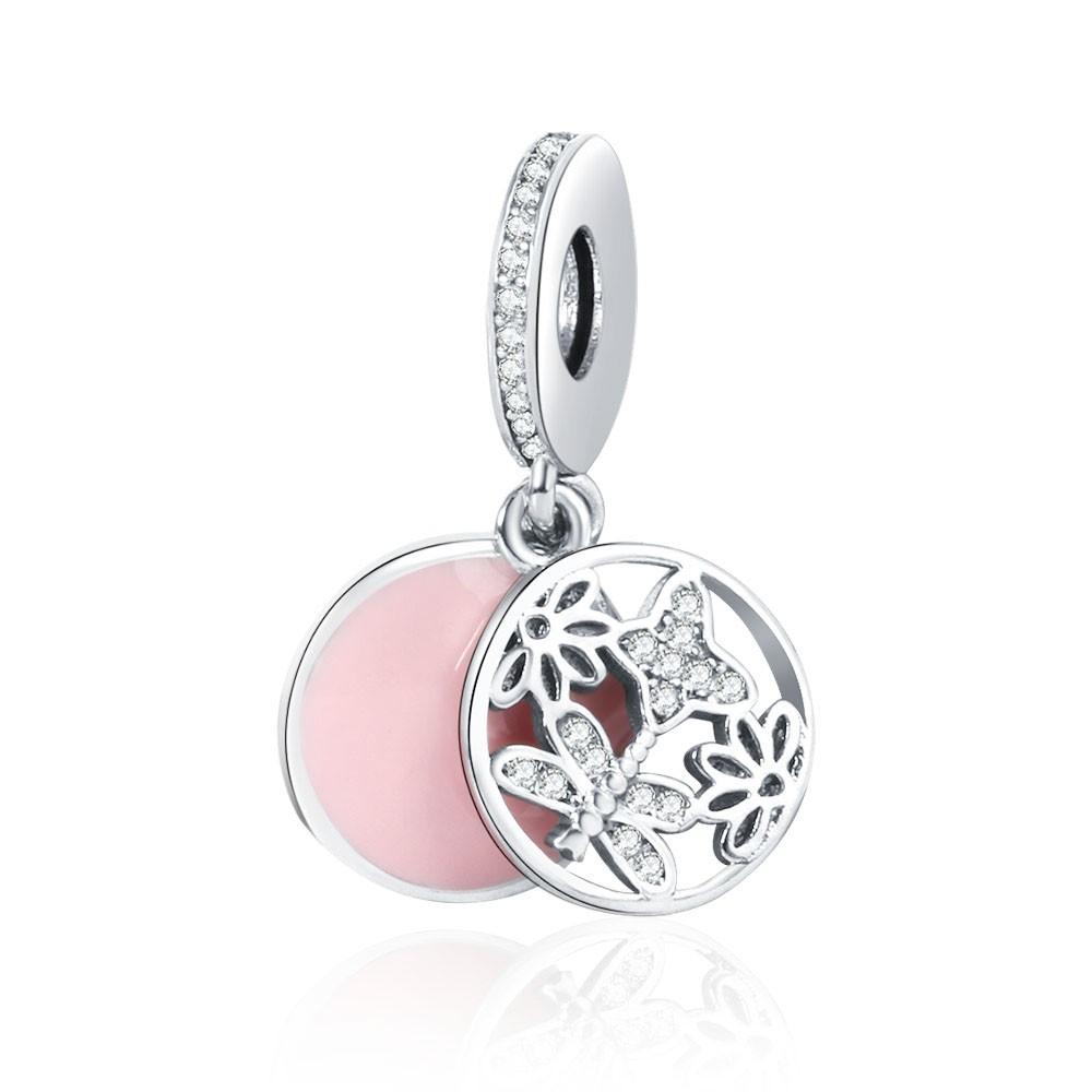 Berloque Borboleta Libélula Flores Fundo Rosa