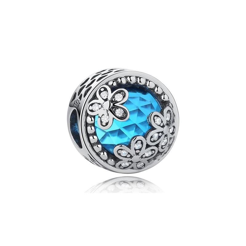Berloque Brilho Azul Floral - Prata Italiana