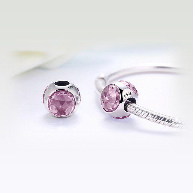 Berloque Brilho Elegância Cristal Rose