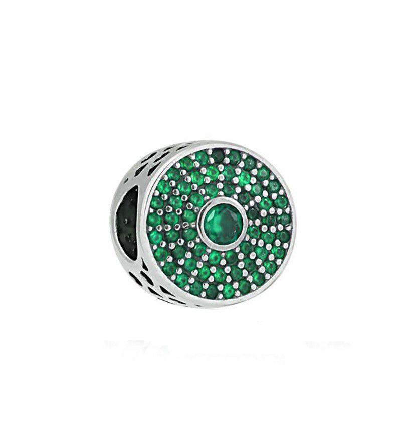 Berloque Brilho Pontos Zircônia Verde
