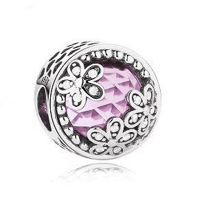 Berloque Brilho Rosa Floral - Prata Italiana