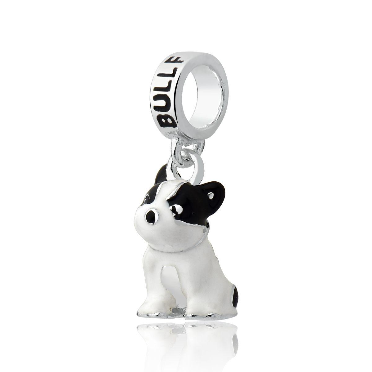 Berloque Cachorro Esmaltado BullDog Francês