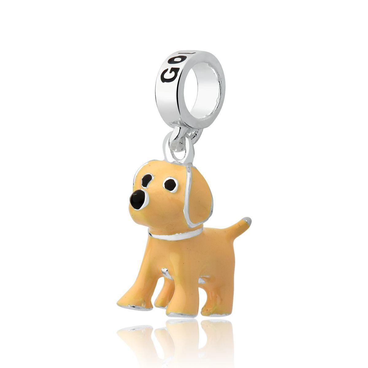 Berloque Cachorro Esmaltado Golden