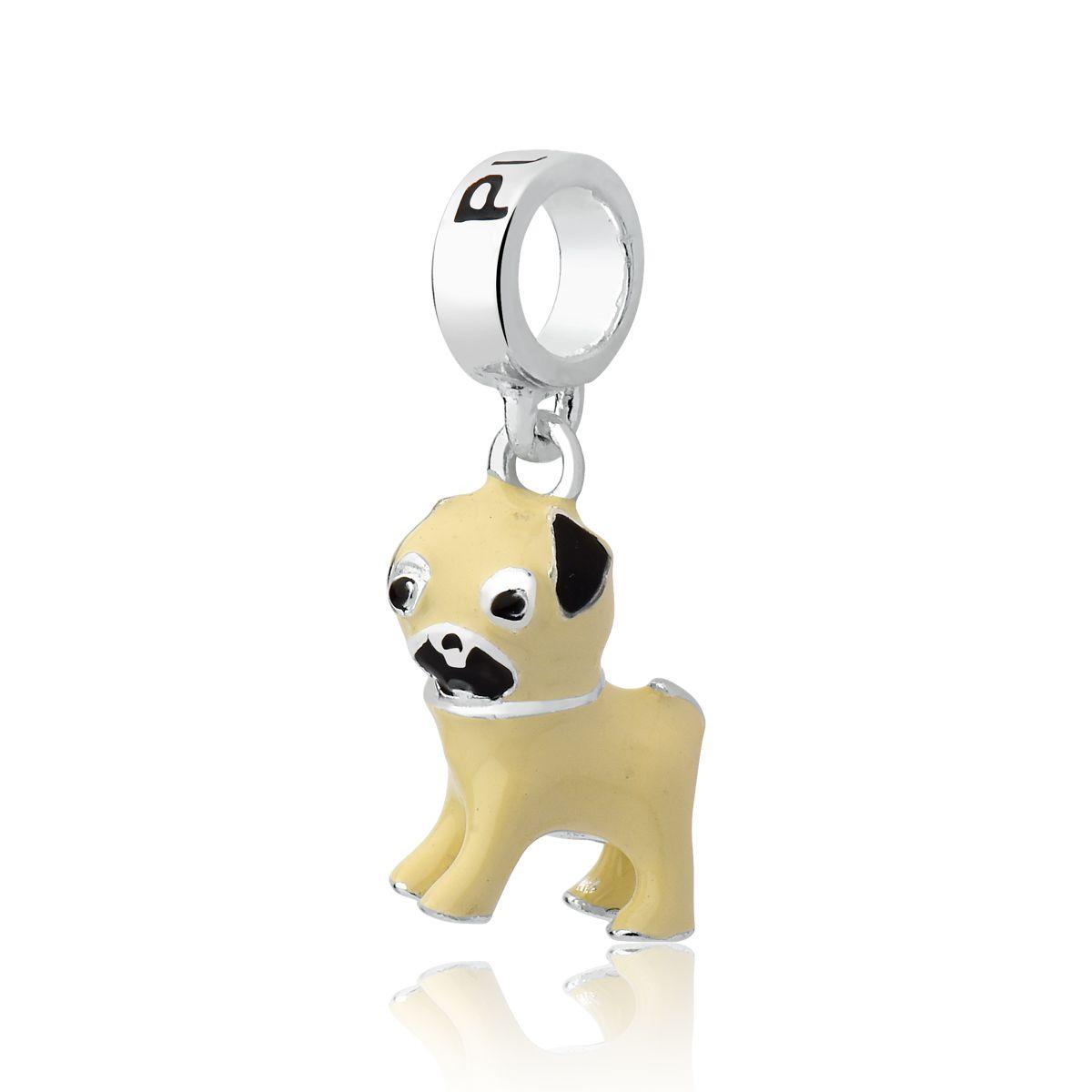 Berloque Cachorro Esmaltado Pug
