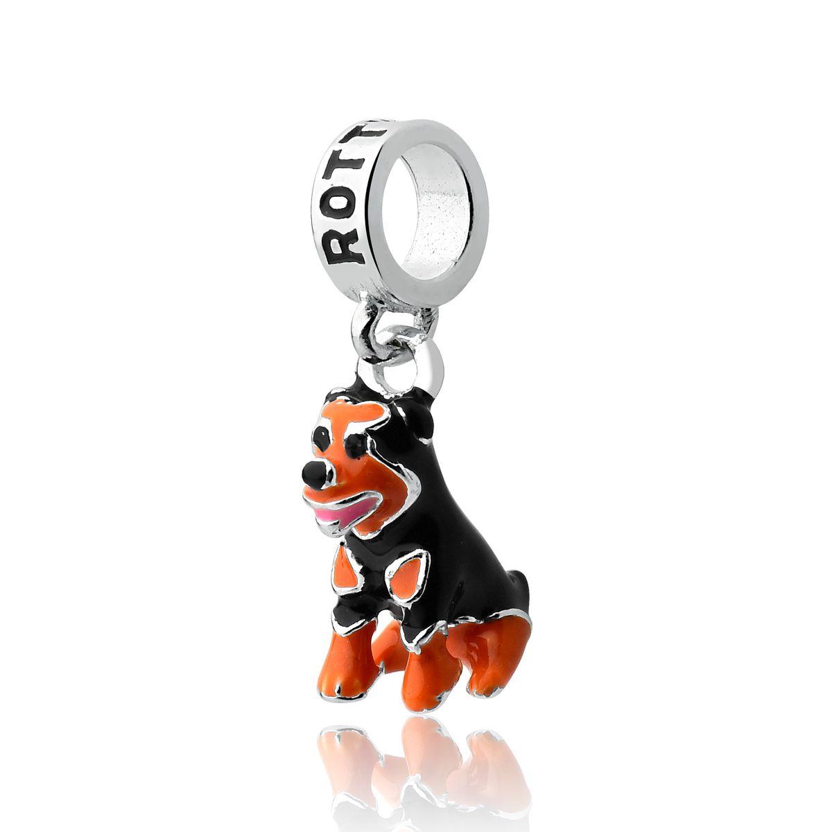 Berloque Cachorro Esmaltado Rottweiler