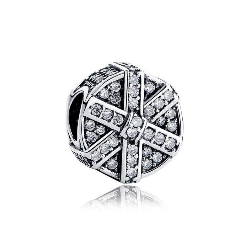 Berloque Caixa de Presente Zircônia Cristal - Prata Italiana