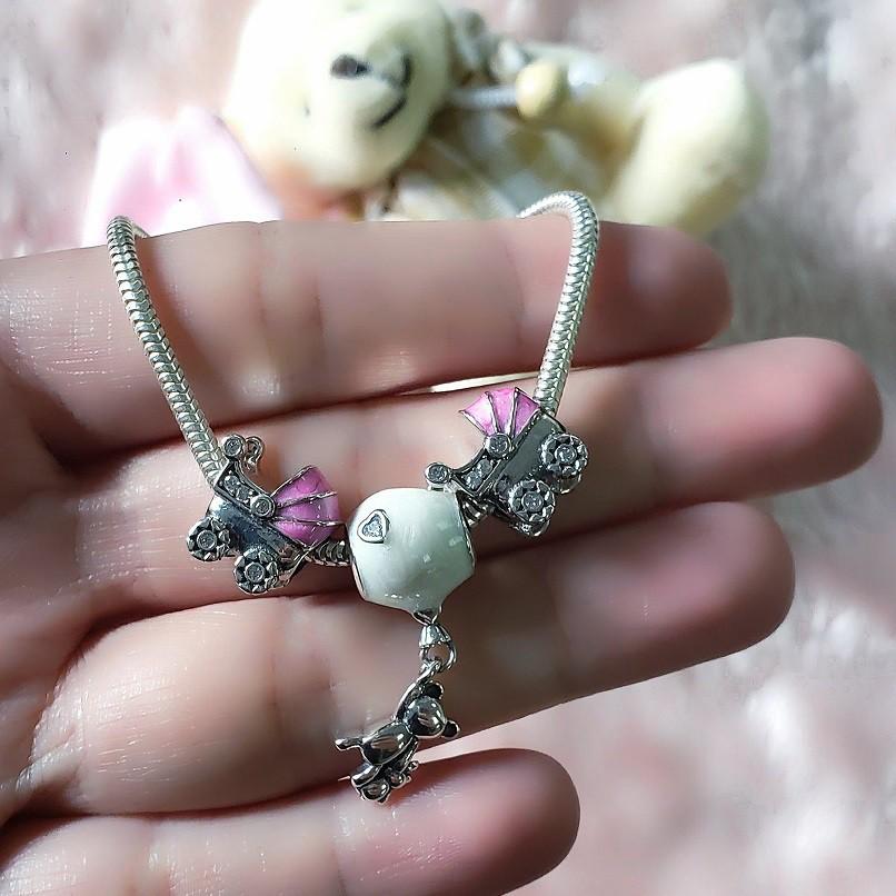 Berloque Carrinho de Bebê Rosa Zircônia Cristal - Prata italiana