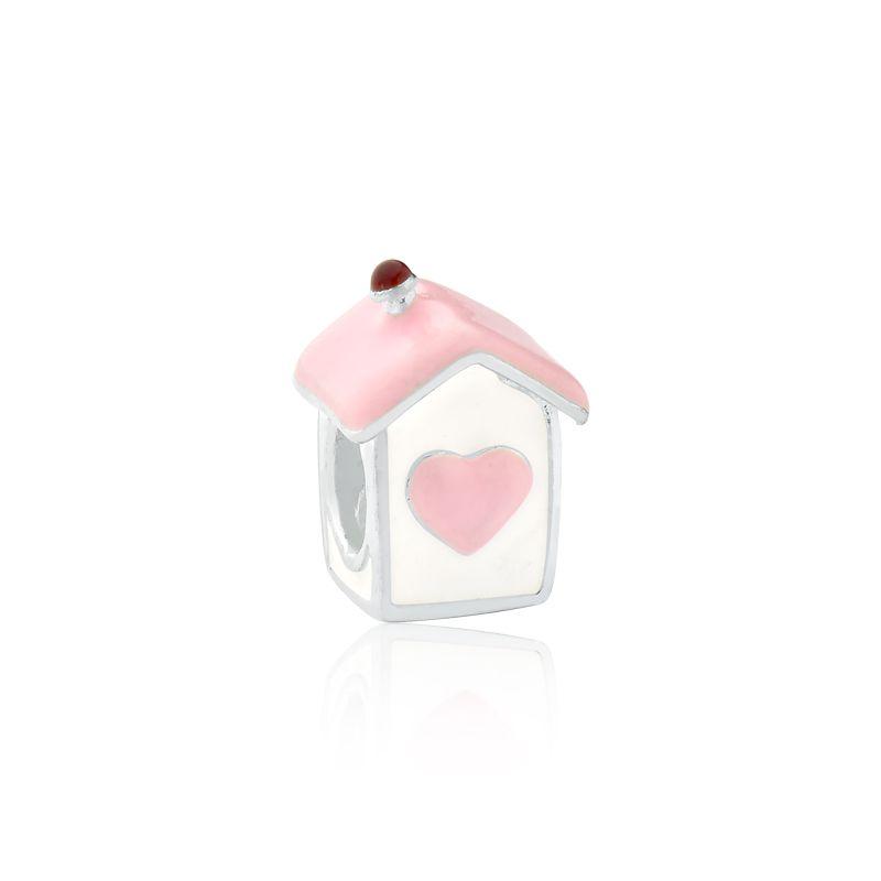 Berloque Casa Coração Rosa