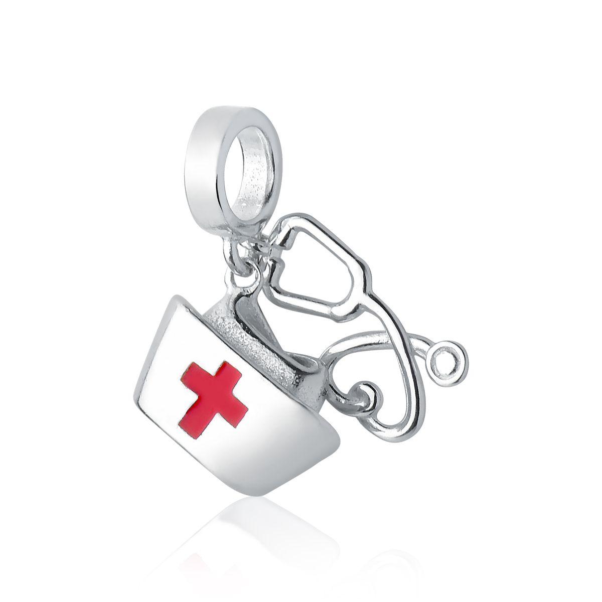 Berloque Chapéu de Enfermeira Estetoscópio