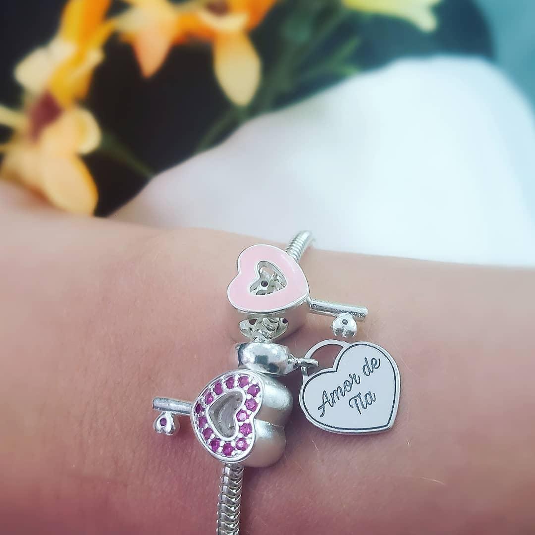 Berloque Chave Coração Rosa Zircônias Rosa