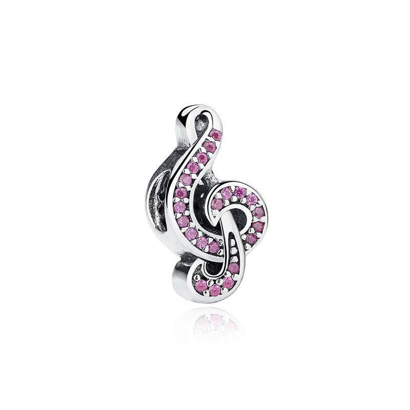 Berloque Clave de Sol Zircônia Rosa - Prata Italiana