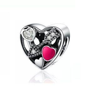 Berloque Coração Apaixonado Cupido - Prata Italiana