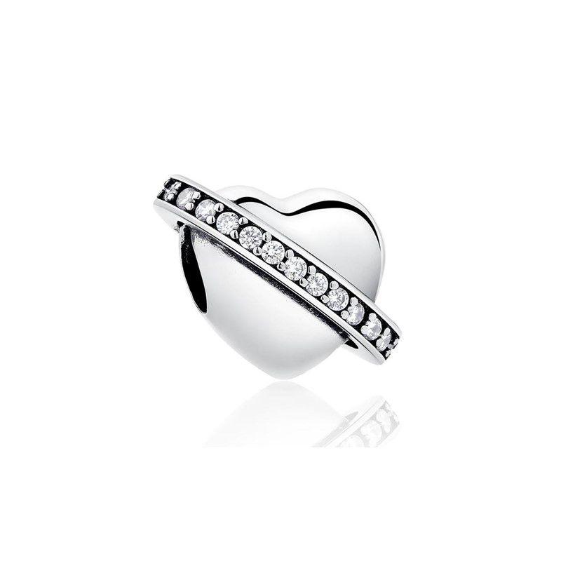 Berloque Coração Arco Zircônia Cristal - Prata Italiana